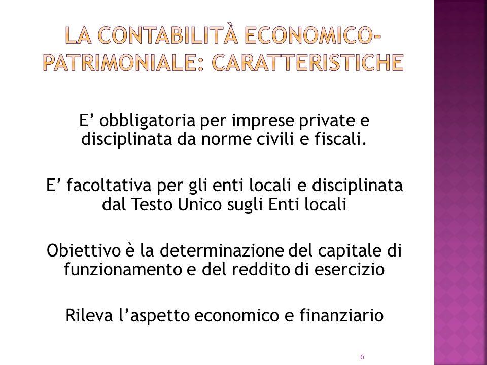 6 E obbligatoria per imprese private e disciplinata da norme civili e fiscali. E facoltativa per gli enti locali e disciplinata dal Testo Unico sugli