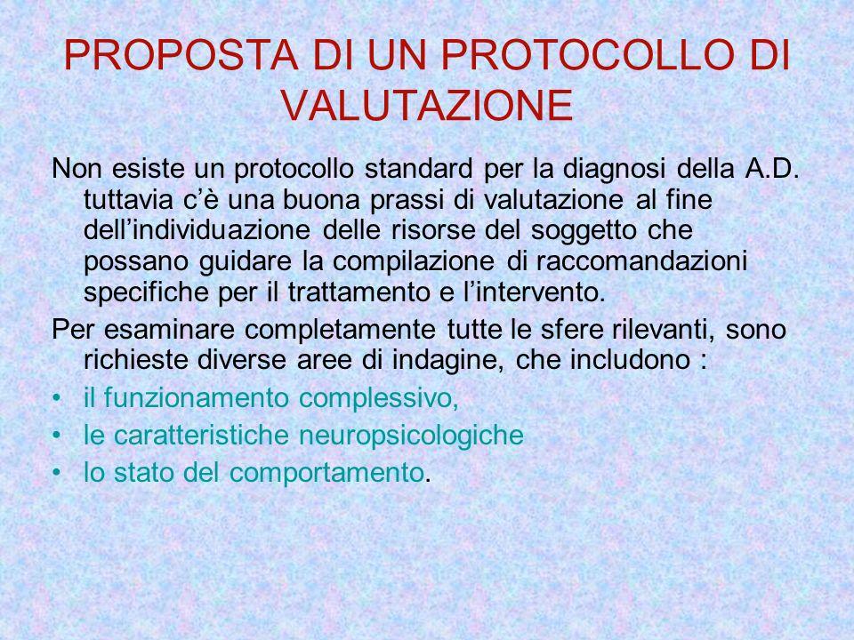 PROPOSTA DI UN PROTOCOLLO DI VALUTAZIONE Non esiste un protocollo standard per la diagnosi della A.D. tuttavia cè una buona prassi di valutazione al f