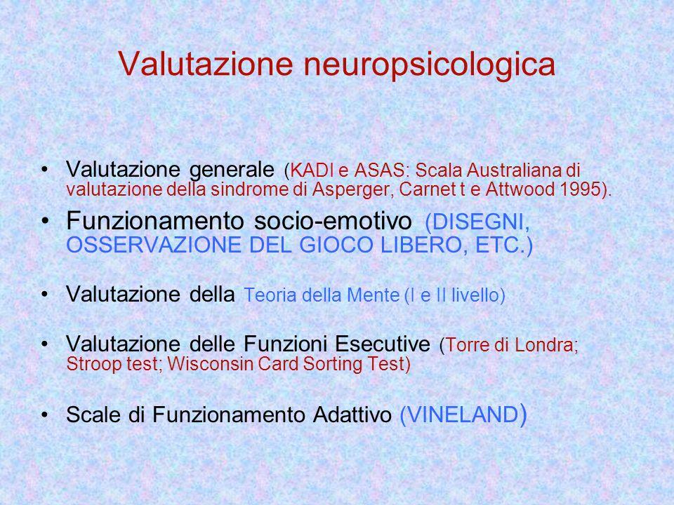 Valutazione neuropsicologica Valutazione generale (KADI e ASAS: Scala Australiana di valutazione della sindrome di Asperger, Carnet t e Attwood 1995).