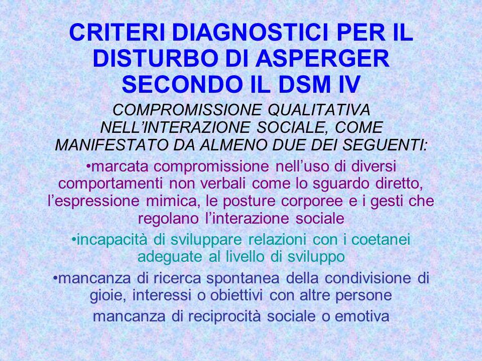 CRITERI DIAGNOSTICI PER IL DISTURBO DI ASPERGER SECONDO IL DSM IV COMPROMISSIONE QUALITATIVA NELLINTERAZIONE SOCIALE, COME MANIFESTATO DA ALMENO DUE D
