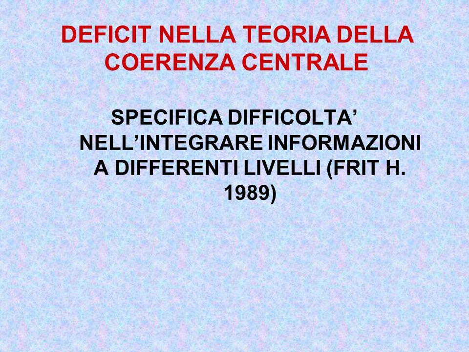 SPECIFICA DIFFICOLTA NELLINTEGRARE INFORMAZIONI A DIFFERENTI LIVELLI (FRIT H. 1989) DEFICIT NELLA TEORIA DELLA COERENZA CENTRALE