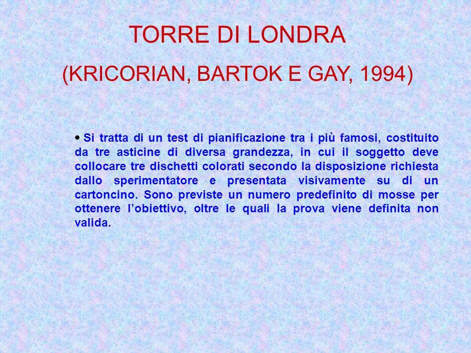 TORRE DI LONDRA (KRICORIAN, BARTOK E GAY, 1994) Si tratta di un test di pianificazione tra i più famosi, costituito da tre asticine di diversa grandez