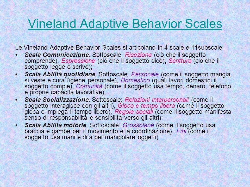 Vineland Adaptive Behavior Scales Le Vineland Adaptive Behavior Scales si articolano in 4 scale e 11subscale: Scala Comunicazione. Sottoscale: Ricezio