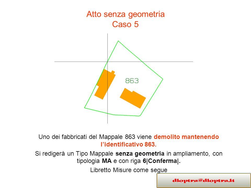Atto senza geometria Caso 5 Uno dei fabbricati del Mappale 863 viene demolito mantenendo lidentificativo 863. Si redigerà un Tipo Mappale senza geomet