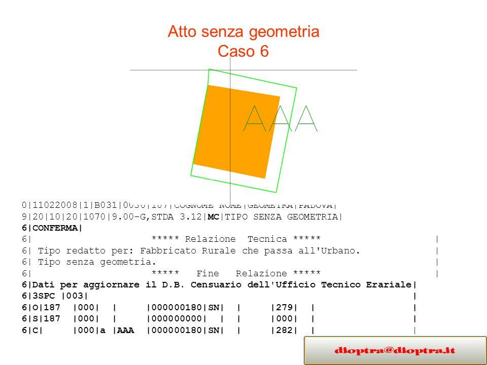 Atto senza geometria Caso 6 0|11022008|1|B031|0030|187|COGNOME NOME|GEOMETRA|PADOVA| 9|20|10|20|1070|9.00-G,STDA 3.12|MC|TIPO SENZA GEOMETRIA| 6|CONFERMA| 6| ***** Relazione Tecnica ***** | 6| Tipo redatto per: Fabbricato Rurale che passa all Urbano.