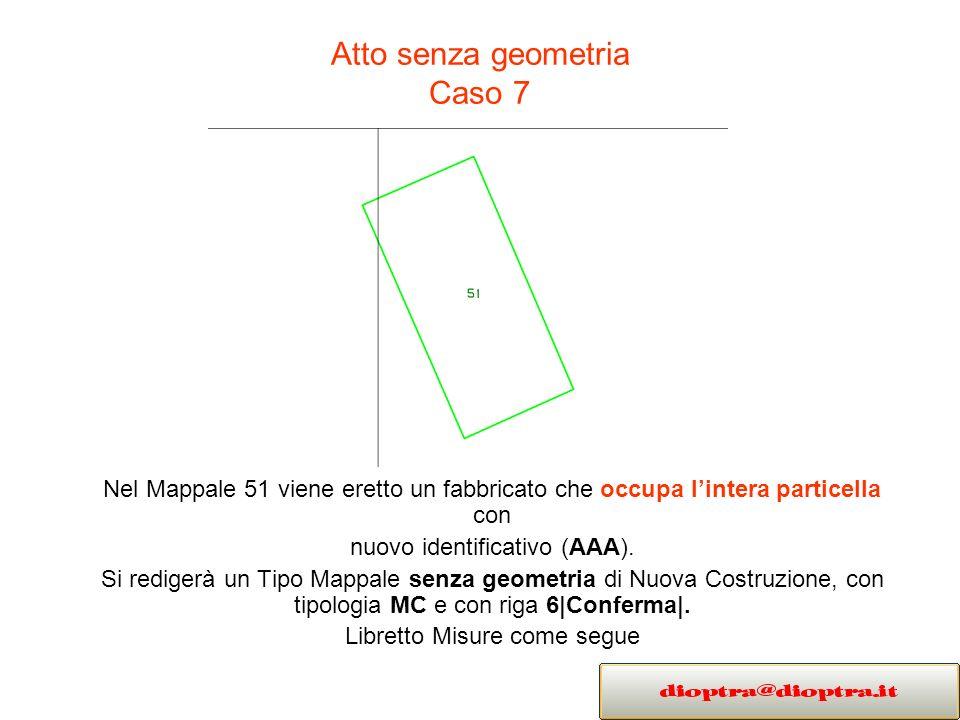Atto senza geometria Caso 7 Nel Mappale 51 viene eretto un fabbricato che occupa lintera particella con nuovo identificativo (AAA). Si redigerà un Tip