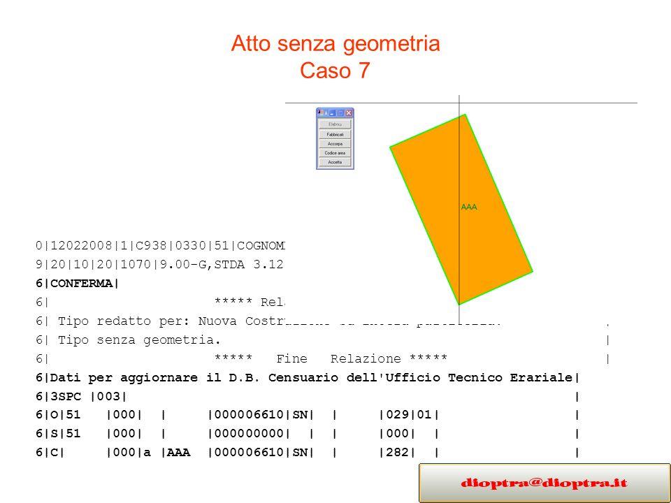 Atto senza geometria Caso 7 0|12022008|1|C938|0330|51|COGNOME NOME|GEOMETRA|PADOVA| 9|20|10|20|1070|9.00-G,STDA 3.12|MC|TIPO SENZA GEOMETRIA| 6|CONFERMA| 6| ***** Relazione Tecnica ***** | 6| Tipo redatto per: Nuova Costruzione su intera particella.
