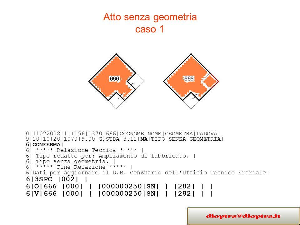 Atto senza geometria caso 1 0|11022008|1|I156|1370|666|COGNOME NOME|GEOMETRA|PADOVA| 9|20|10|20|1070|9.00-G,STDA 3.12|MA|TIPO SENZA GEOMETRIA| 6|CONFERMA| 6| ***** Relazione Tecnica ***** | 6| Tipo redatto per: Ampliamento di fabbricato.