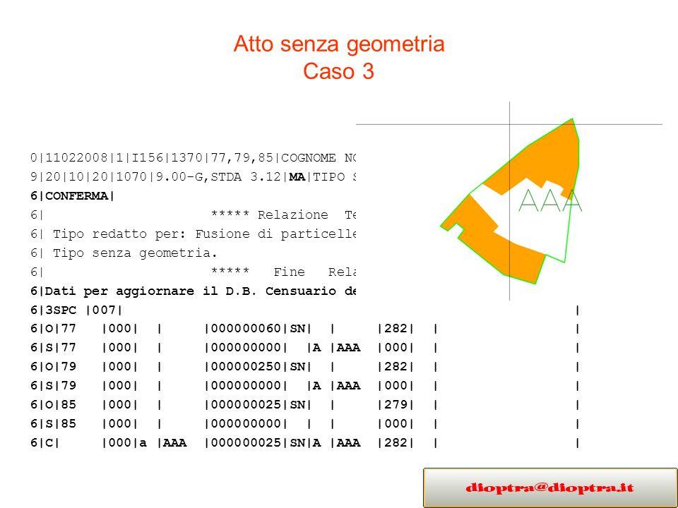 Atto senza geometria Caso 3 0|11022008|1|I156|1370|77,79,85|COGNOME NOME|GEOMETRA|PADOVA| 9|20|10|20|1070|9.00-G,STDA 3.12|MA|TIPO SENZA GEOMETRIA| 6|CONFERMA| 6| ***** Relazione Tecnica ***** | 6| Tipo redatto per: Fusione di particelle.