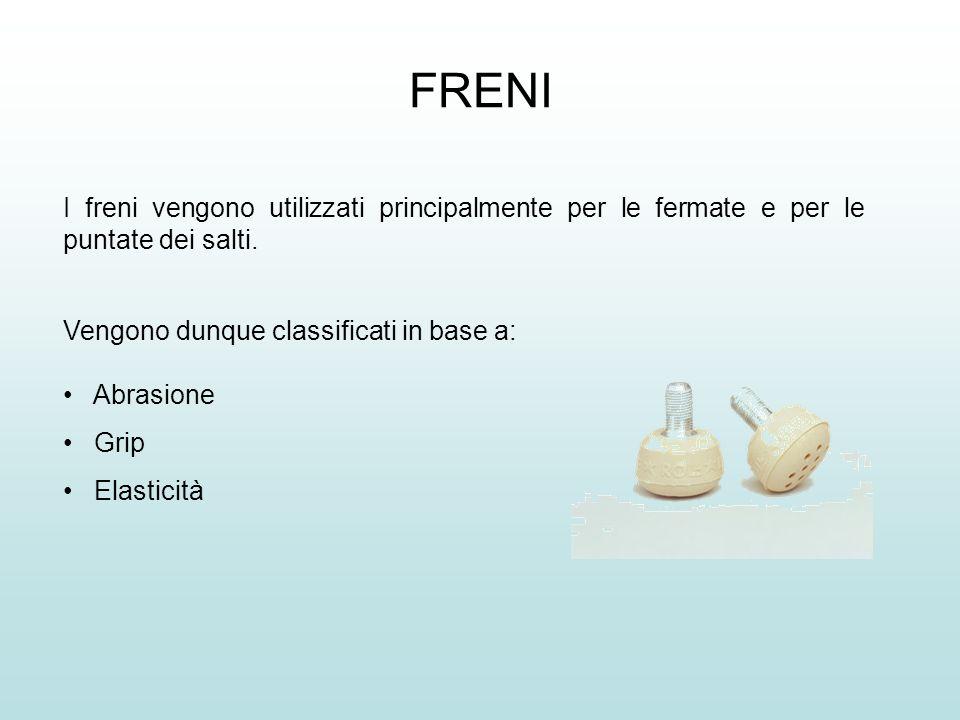 FRENI I freni vengono utilizzati principalmente per le fermate e per le puntate dei salti.