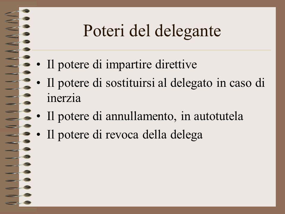 Caratteri della delega Organizzatorio, dunque strumentale allazione amministrativa; Discrezionale, dunque cè a monte una scelta; Ampliativo, dunque am