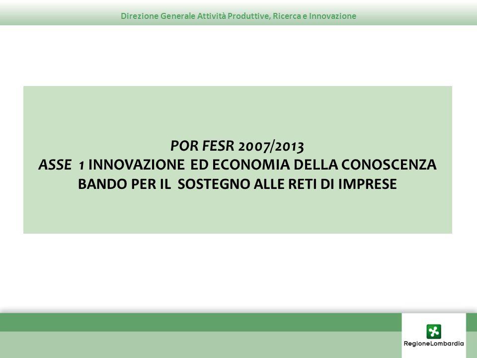 Direzione Generale Attività Produttive, Ricerca e Innovazione Obiettivi In attuazione della linea di intervento 1.1.2.1 Sostegno alla crescita della capacità competitiva delle imprese lombarde, Azione F Sostegno alle reti di imprese del POR FESR 2007/2013, il bando promuove il consolidamento e la creazione di aggregazioni in forma stabile tra imprese, tramite la realizzazione di progetti volti allinnovazione a livello di: - prodotto, - processo, - organizzazione.