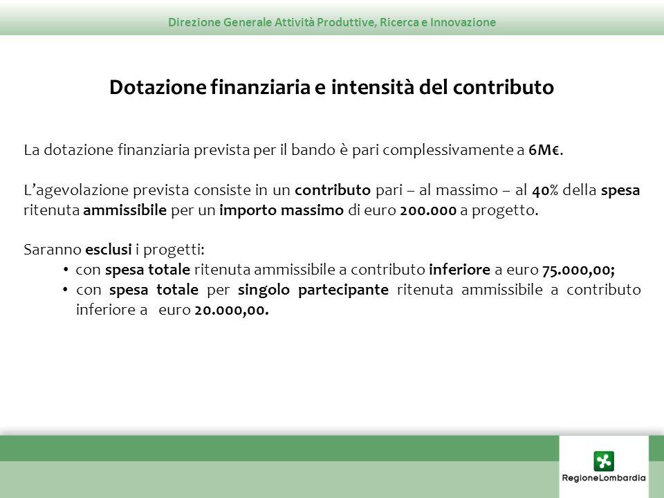 Direzione Generale Attività Produttive, Ricerca e Innovazione Dotazione finanziaria e intensità del contributo La dotazione finanziaria prevista per i