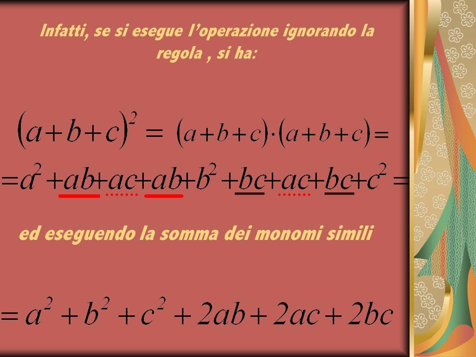 IL QUADRATO DI UN TRINOMIO Il quadrato di un trinomio è uguale alla somma dei quadrati dei tre termini, più o meno il doppio prodotto di ognuno di essi per tutti quelli che lo seguono.