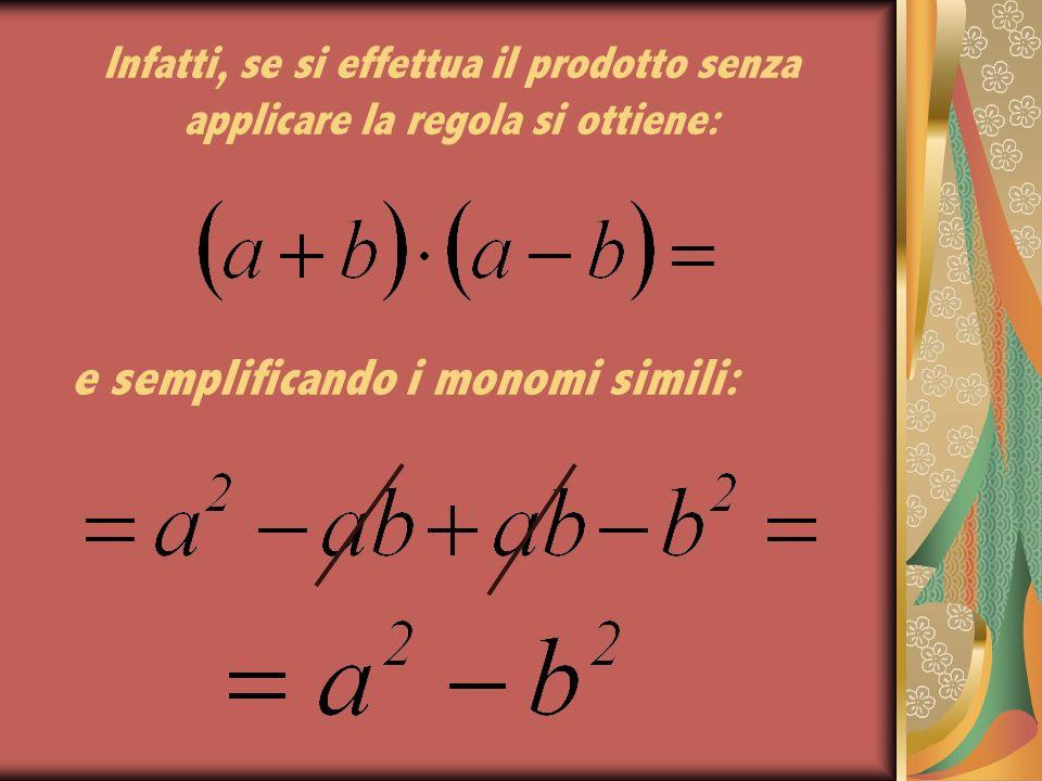 Infatti, se si effettua il prodotto senza applicare la regola si ottiene: e semplificando i monomi simili: