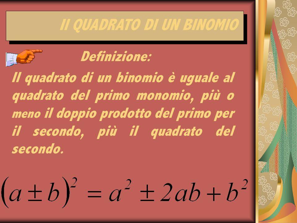 Il quadrato di un binomio è uguale al quadrato del primo monomio, più o meno il doppio prodotto del primo per il secondo, più il quadrato del secondo.
