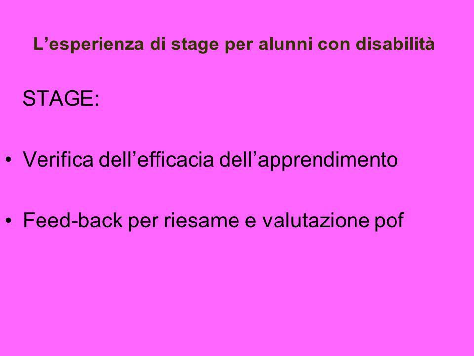 Lesperienza di stage per alunni con disabilità STAGE: Verifica dellefficacia dellapprendimento Feed-back per riesame e valutazione pof