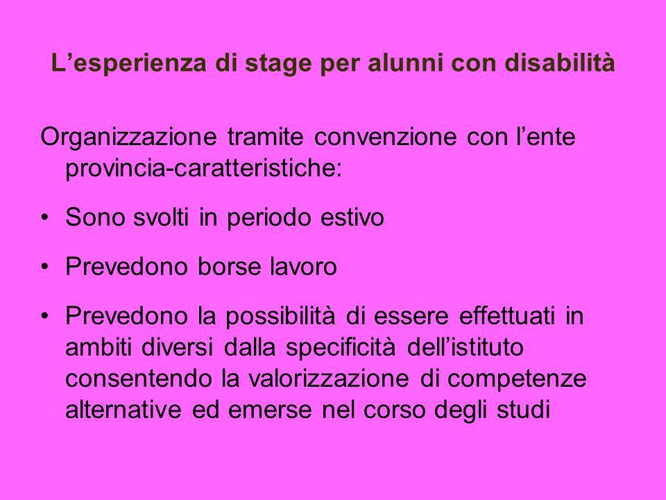 Lesperienza di stage per alunni con disabilità Organizzazione tramite convenzione con lente provincia-caratteristiche: Sono svolti in periodo estivo P