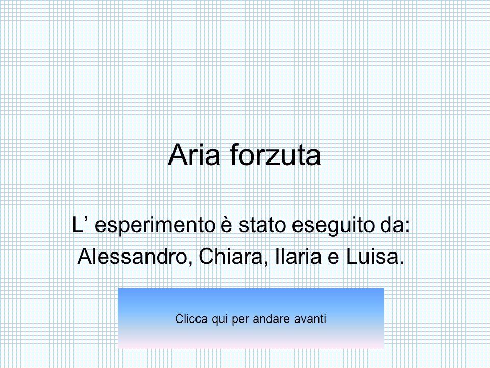 Aria forzuta L esperimento è stato eseguito da: Alessandro, Chiara, Ilaria e Luisa. Clicca qui per andare avanti
