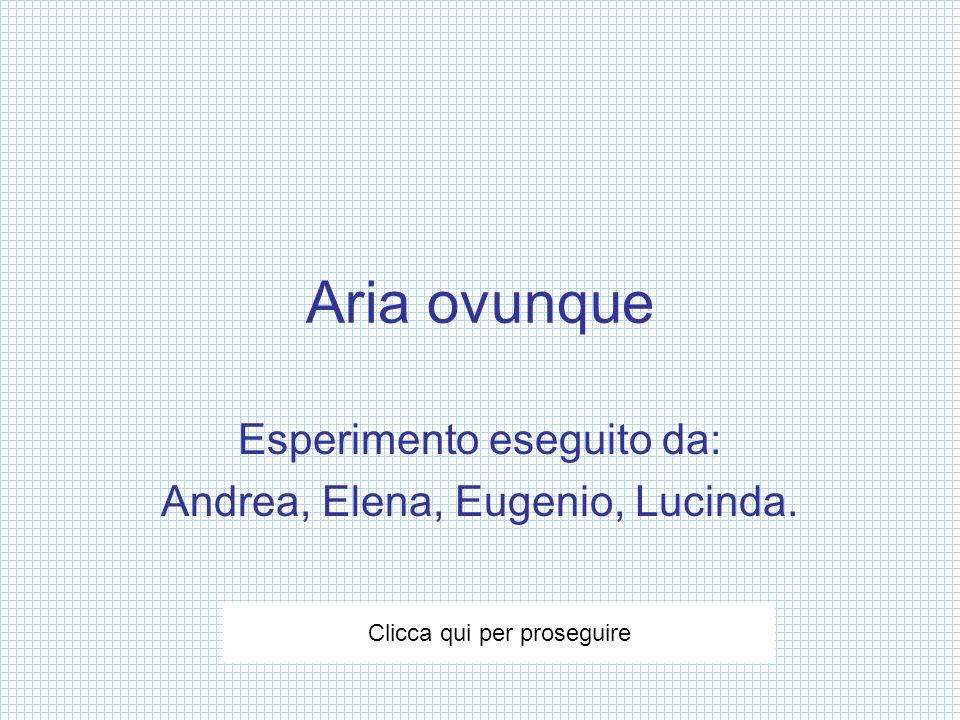 Aria ovunque Esperimento eseguito da: Andrea, Elena, Eugenio, Lucinda. Clicca qui per proseguire