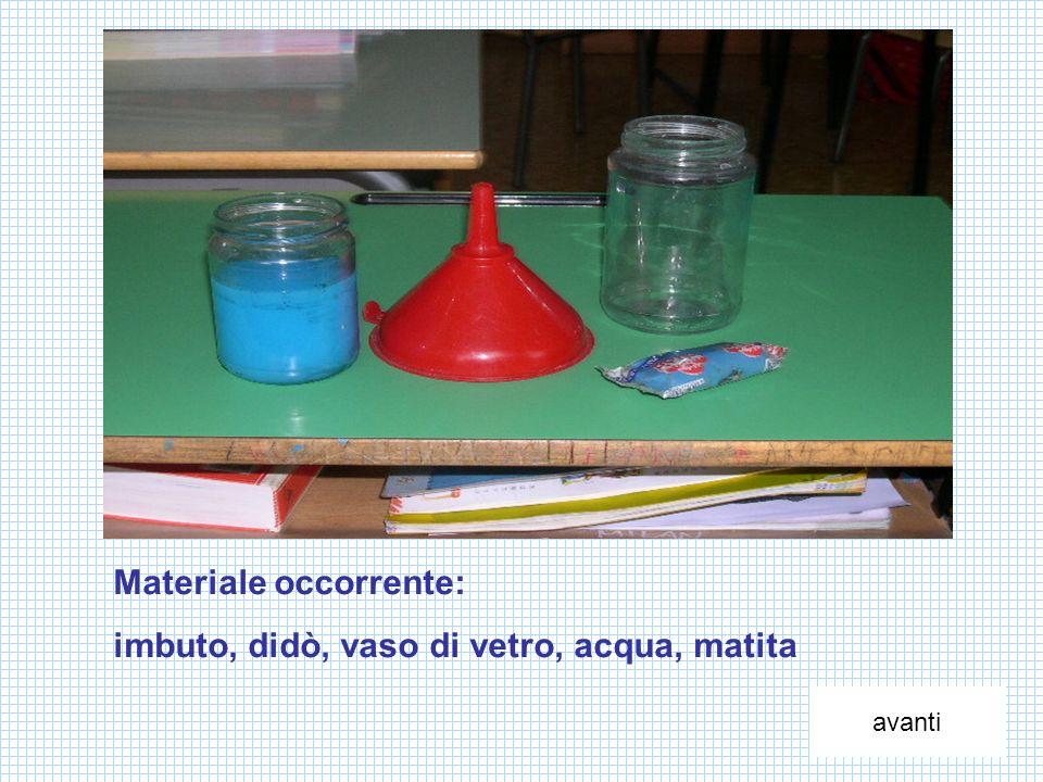 Materiale occorrente: imbuto, didò, vaso di vetro, acqua, matita avanti
