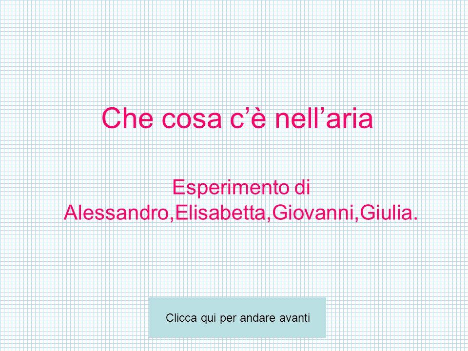 Che cosa cè nellaria Esperimento di Alessandro,Elisabetta,Giovanni,Giulia. Clicca qui per andare avanti
