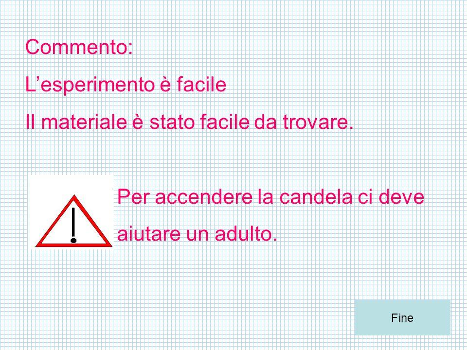 Commento: Lesperimento è facile Il materiale è stato facile da trovare. Per accendere la candela ci deve aiutare un adulto. Fine