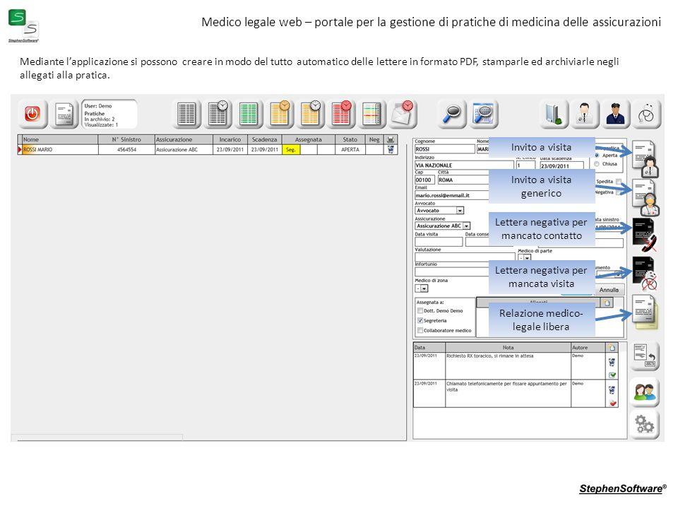 Medico legale web – portale per la gestione di pratiche di medicina delle assicurazioni Mediante lapplicazione si possono creare in modo del tutto automatico delle lettere in formato PDF, stamparle ed archiviarle negli allegati alla pratica.