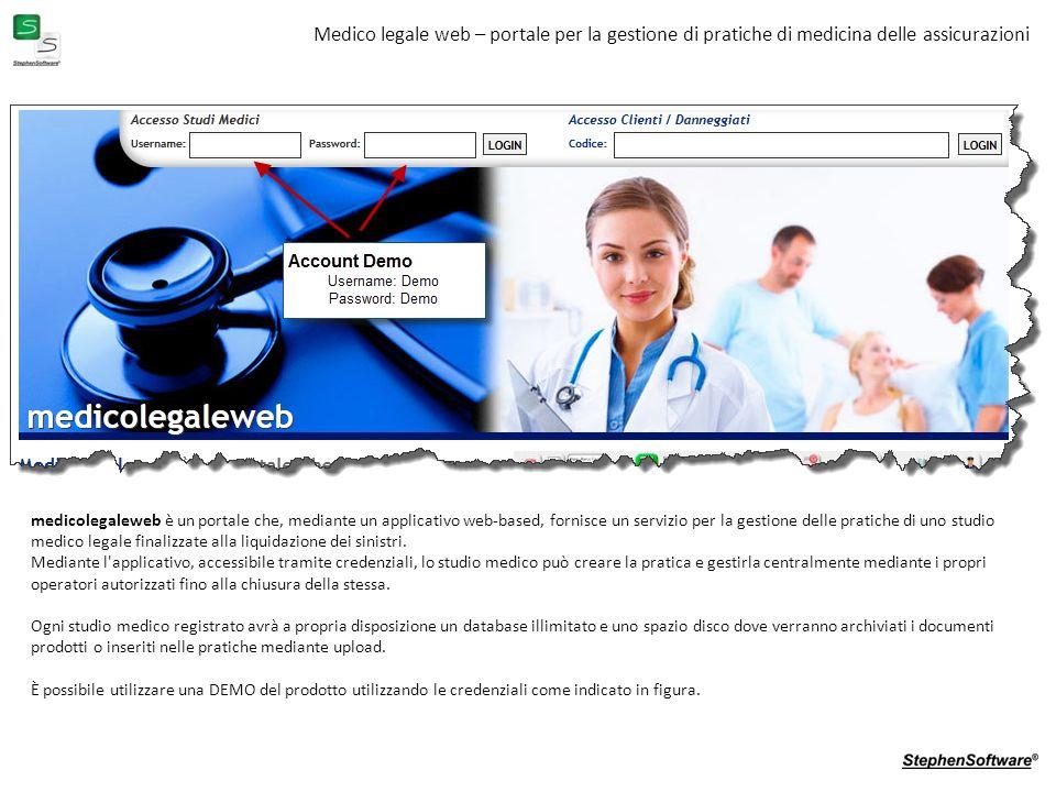 Medico legale web – portale per la gestione di pratiche di medicina delle assicurazioni medicolegaleweb è un portale che, mediante un applicativo web-based, fornisce un servizio per la gestione delle pratiche di uno studio medico legale finalizzate alla liquidazione dei sinistri.