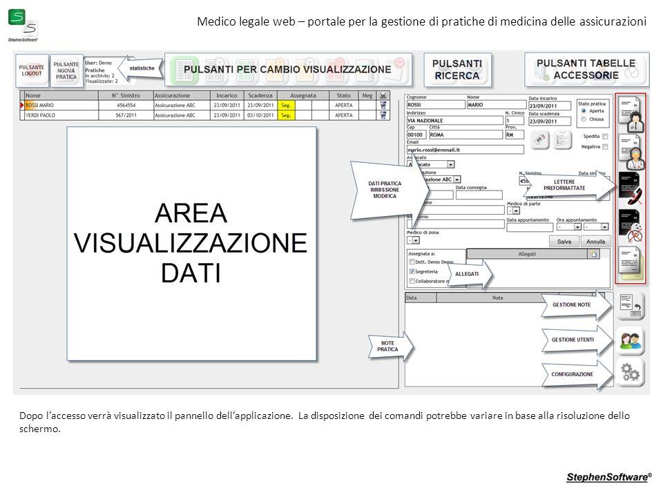 Medico legale web – portale per la gestione di pratiche di medicina delle assicurazioni Dopo laccesso verrà visualizzato il pannello dellapplicazione.