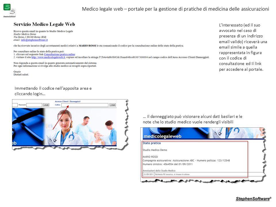Medico legale web – portale per la gestione di pratiche di medicina delle assicurazioni Linteressato (ed il suo avvocato nel caso di presenza di un indirizzo email valido) riceverà una email simile a quella rappresentata in figura con il codice di consultazione ed il link per accedere al portale.