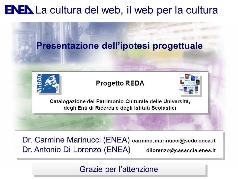 Grazie per lattenzione Presentazione dellipotesi progettuale Dr. Carmine Marinucci (ENEA) carmine. marinucci@sede.enea.it Dr. Antonio Di Lorenzo (ENEA