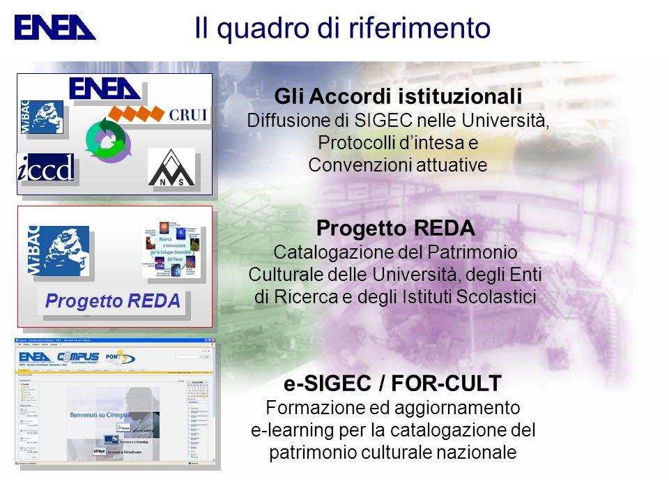 Il quadro di riferimento Gli Accordi istituzionali Diffusione di SIGEC nelle Università, Protocolli dintesa e Convenzioni attuative e-SIGEC / FOR-CULT