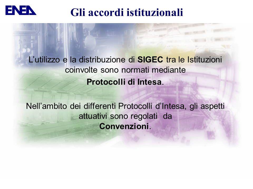 Lutilizzo e la distribuzione di SIGEC tra le Istituzioni coinvolte sono normati mediante Protocolli di Intesa. Nellambito dei differenti Protocolli dI
