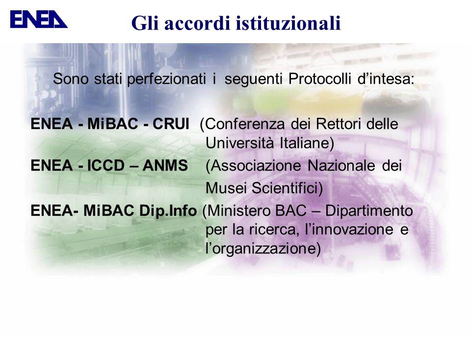 Sono stati perfezionati i seguenti Protocolli dintesa: ENEA - MiBAC - CRUI (Conferenza dei Rettori delle Università Italiane) ENEA - ICCD – ANMS (Asso