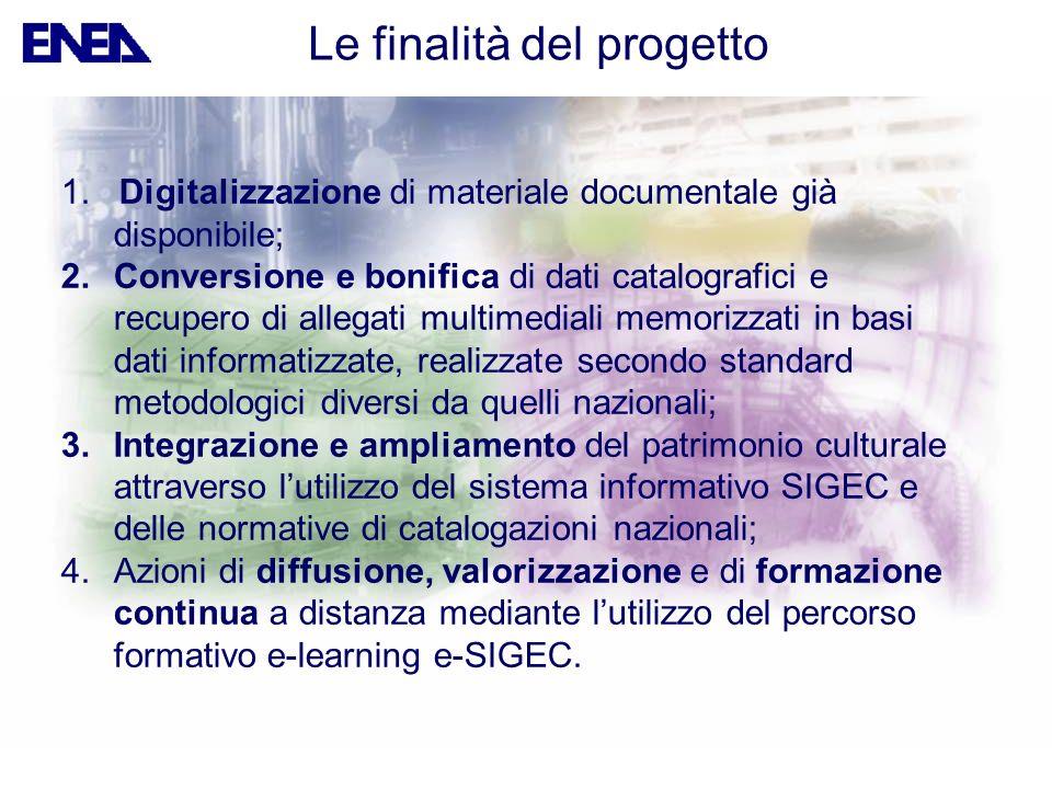 1. Digitalizzazione di materiale documentale già disponibile; 2.Conversione e bonifica di dati catalografici e recupero di allegati multimediali memor