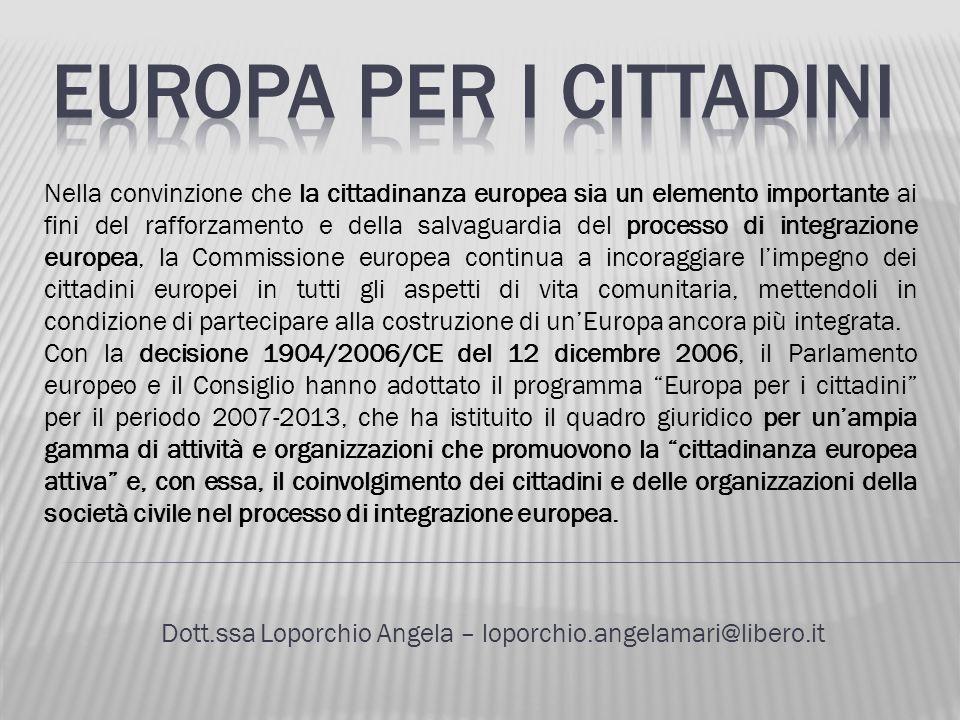 Dott.ssa Loporchio Angela – loporchio.angelamari@libero.it Nella convinzione che la cittadinanza europea sia un elemento importante ai fini del raffor