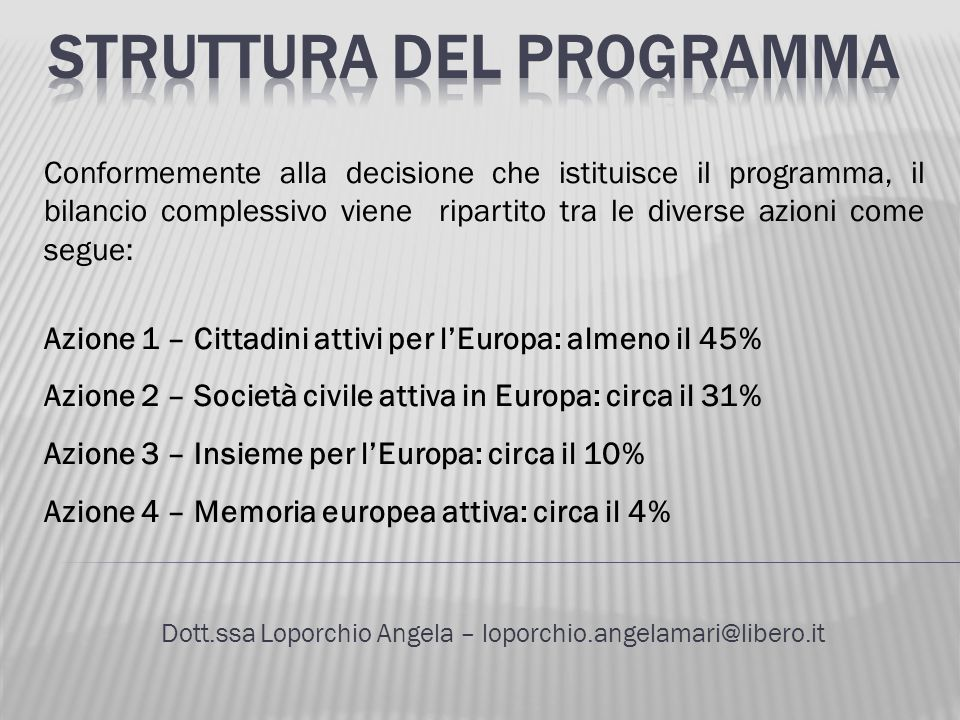 Dott.ssa Loporchio Angela – loporchio.angelamari@libero.it Conformemente alla decisione che istituisce il programma, il bilancio complessivo viene rip