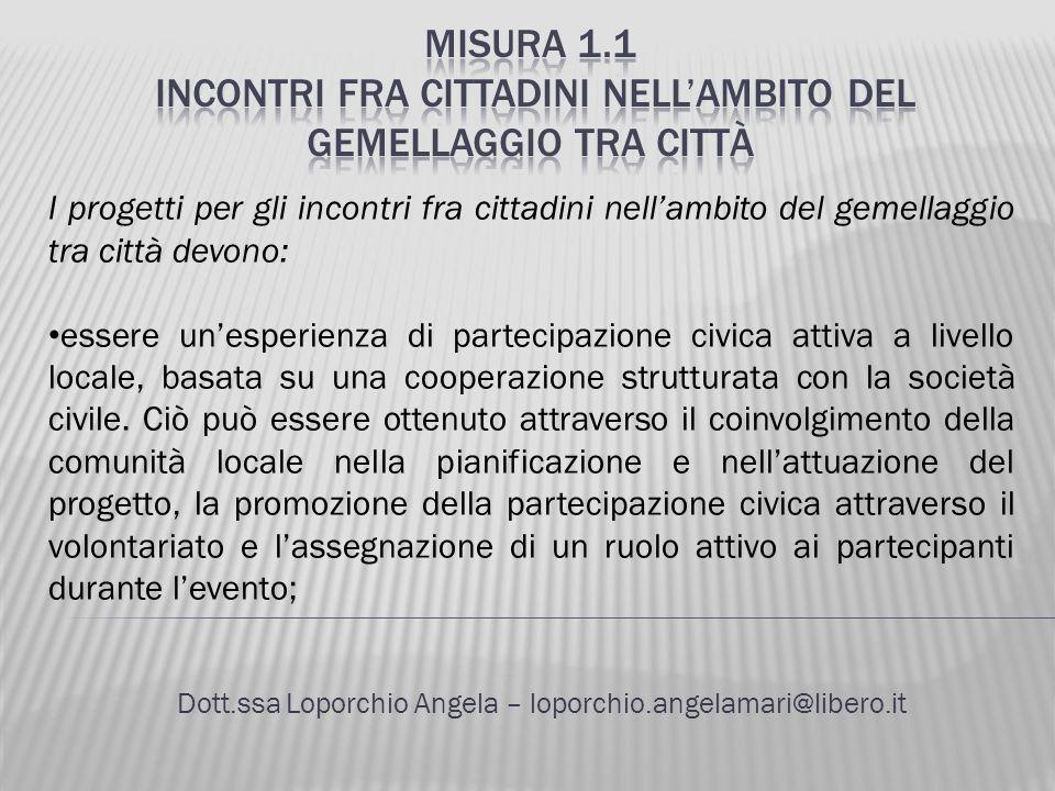Dott.ssa Loporchio Angela – loporchio.angelamari@libero.it I progetti per gli incontri fra cittadini nellambito del gemellaggio tra città devono: esse