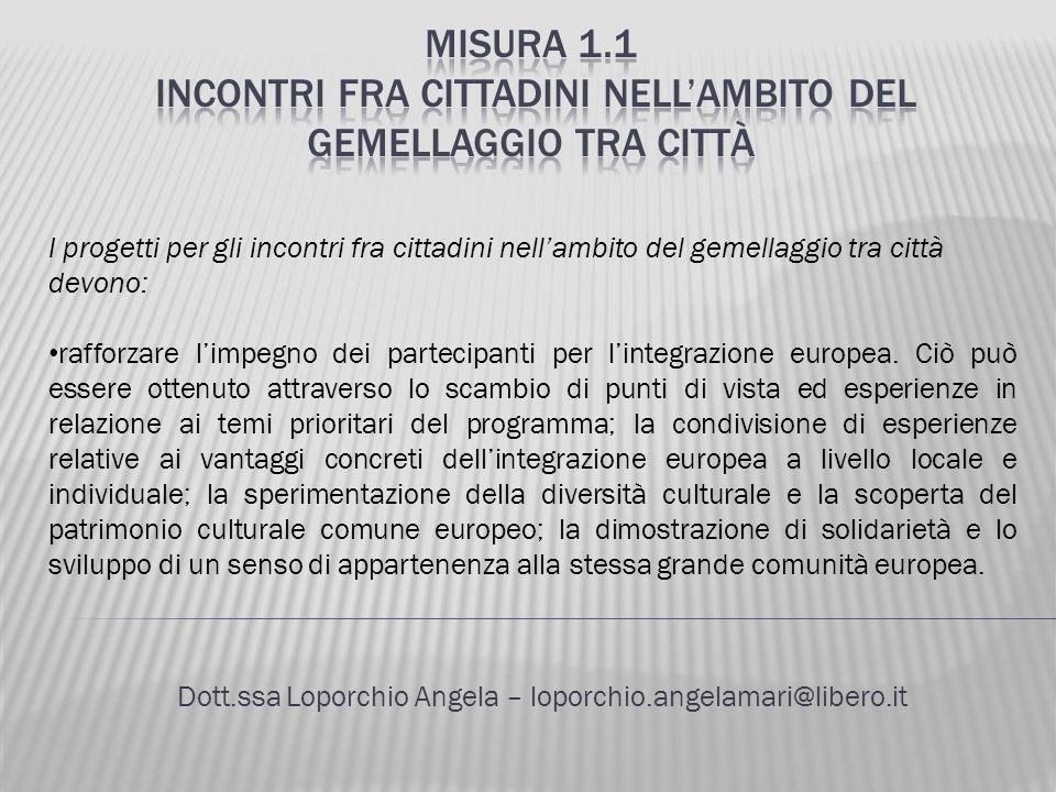 Dott.ssa Loporchio Angela – loporchio.angelamari@libero.it I progetti per gli incontri fra cittadini nellambito del gemellaggio tra città devono: raff