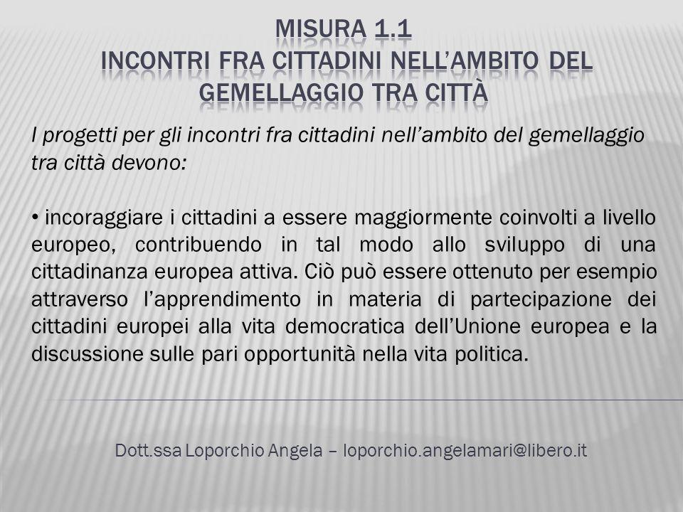 Dott.ssa Loporchio Angela – loporchio.angelamari@libero.it I progetti per gli incontri fra cittadini nellambito del gemellaggio tra città devono: inco