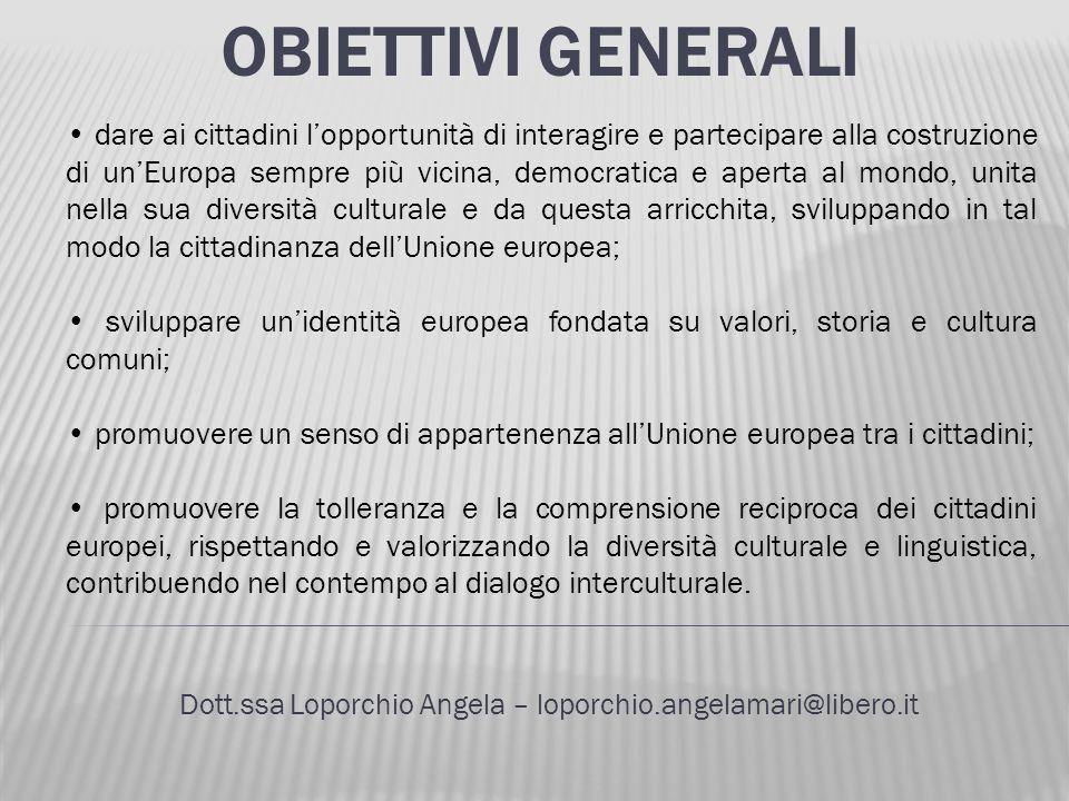 OBIETTIVI GENERALI Dott.ssa Loporchio Angela – loporchio.angelamari@libero.it dare ai cittadini lopportunità di interagire e partecipare alla costruzi