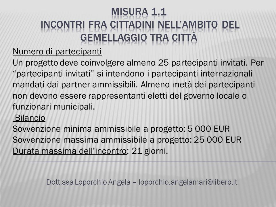 Dott.ssa Loporchio Angela – loporchio.angelamari@libero.it Numero di partecipanti Un progetto deve coinvolgere almeno 25 partecipanti invitati. Per pa
