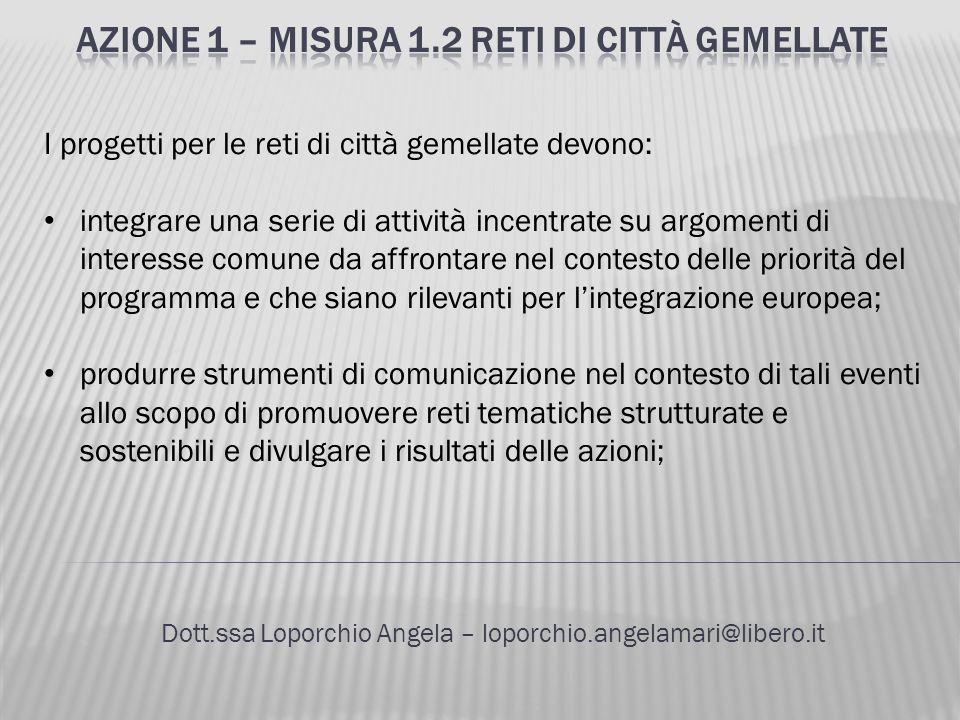 Dott.ssa Loporchio Angela – loporchio.angelamari@libero.it I progetti per le reti di città gemellate devono: integrare una serie di attività incentrat