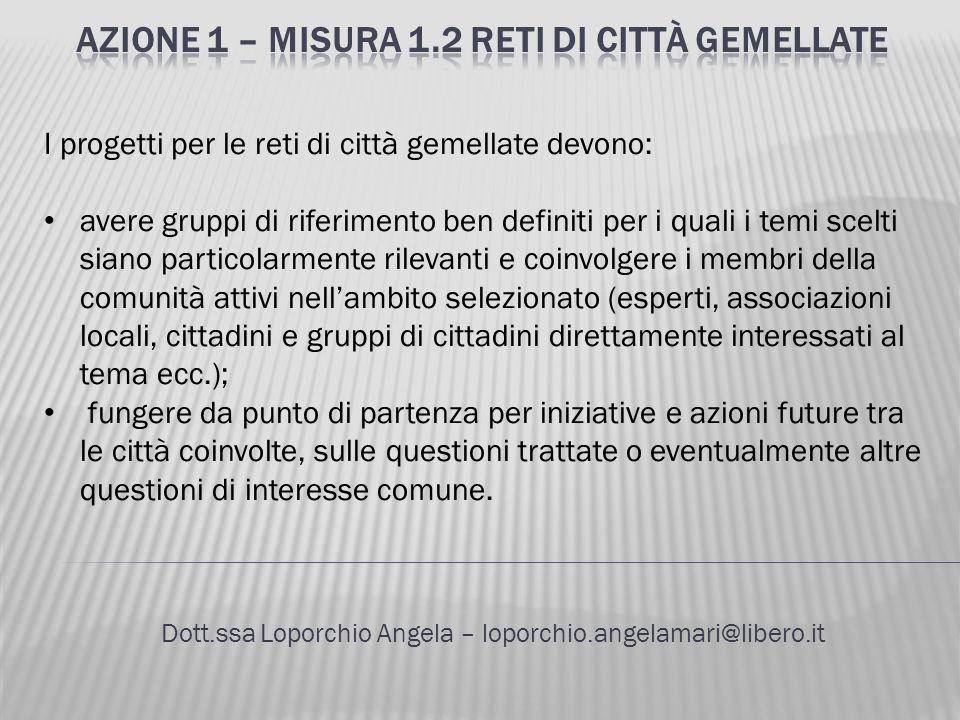 Dott.ssa Loporchio Angela – loporchio.angelamari@libero.it I progetti per le reti di città gemellate devono: avere gruppi di riferimento ben definiti