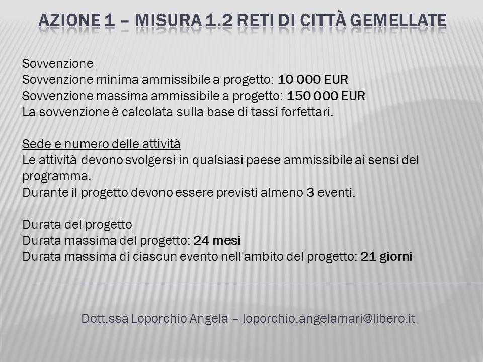 Dott.ssa Loporchio Angela – loporchio.angelamari@libero.it Sovvenzione Sovvenzione minima ammissibile a progetto: 10 000 EUR Sovvenzione massima ammis