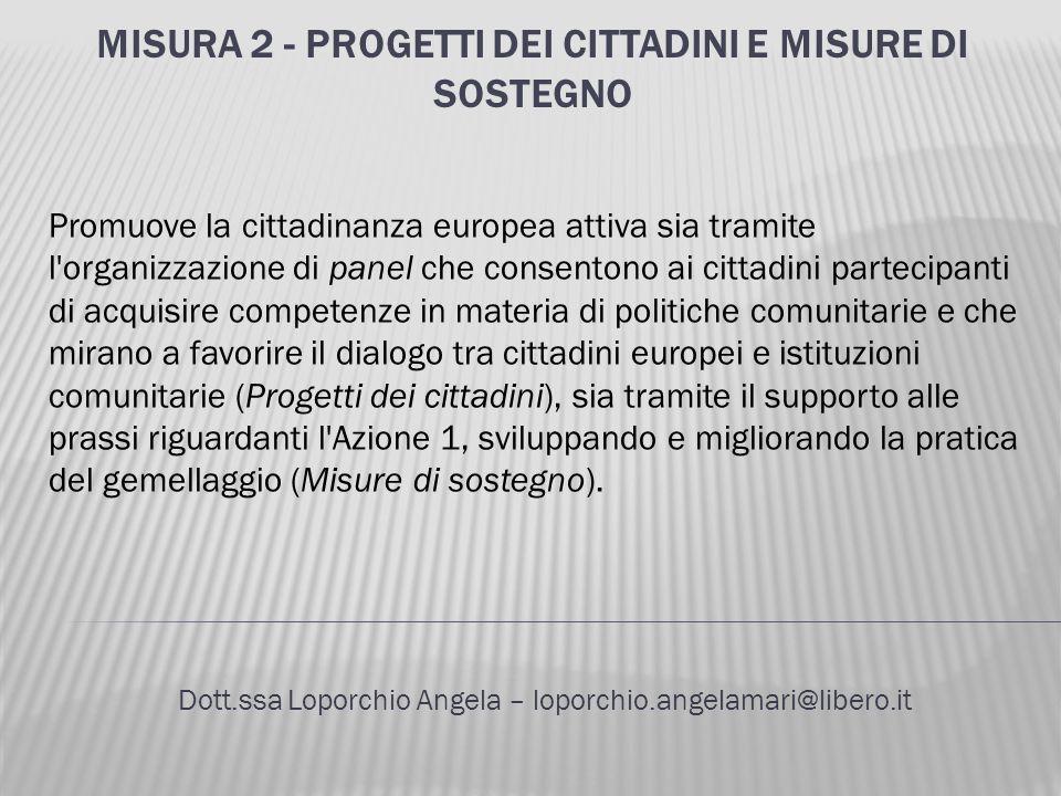 MISURA 2 - PROGETTI DEI CITTADINI E MISURE DI SOSTEGNO Dott.ssa Loporchio Angela – loporchio.angelamari@libero.it Promuove la cittadinanza europea att