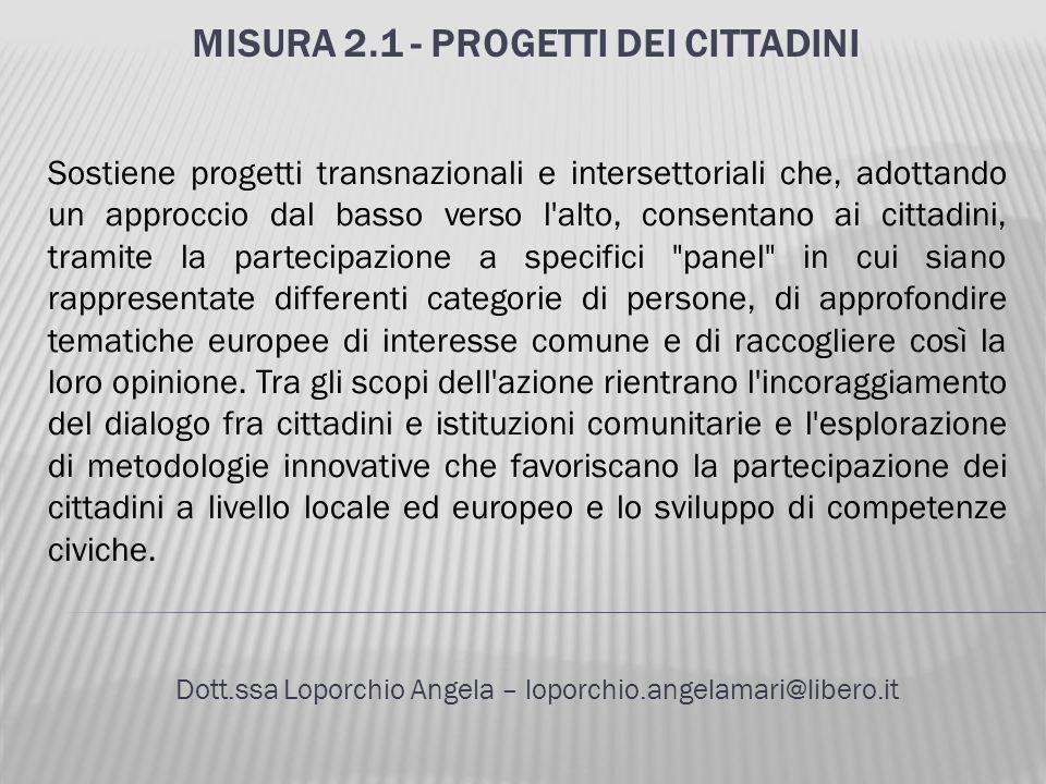 MISURA 2.1 - PROGETTI DEI CITTADINI Dott.ssa Loporchio Angela – loporchio.angelamari@libero.it Sostiene progetti transnazionali e intersettoriali che,