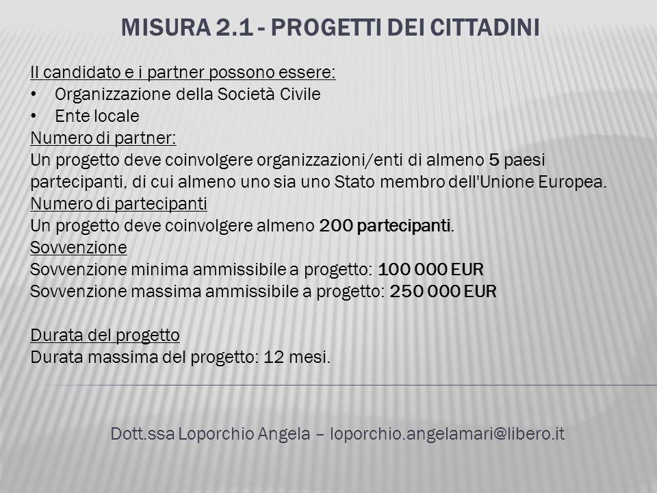 MISURA 2.1 - PROGETTI DEI CITTADINI Dott.ssa Loporchio Angela – loporchio.angelamari@libero.it Il candidato e i partner possono essere: Organizzazione
