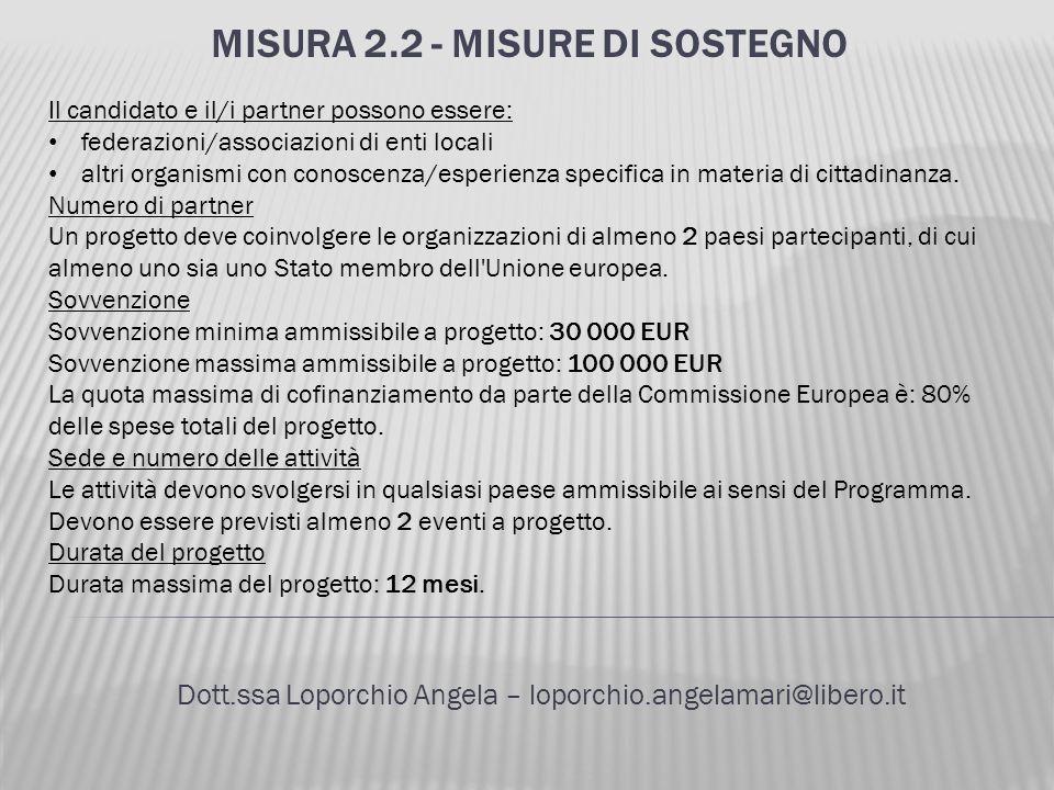 MISURA 2.2 - MISURE DI SOSTEGNO Dott.ssa Loporchio Angela – loporchio.angelamari@libero.it Il candidato e il/i partner possono essere: federazioni/ass